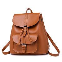 Рюкзак женский для девушек из экокожи с накладным карманом  (коричневый)