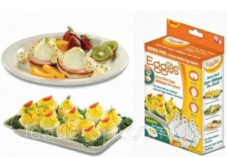 [ОПТ] Набор форм для варки яиц без скорлупы Eggies RedSun (6 штук) с ложкой-сепаратором. Яйцеварка Eggies