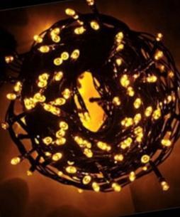 Гирлянда новогодняя Нить 100 LED желтая, черный провод