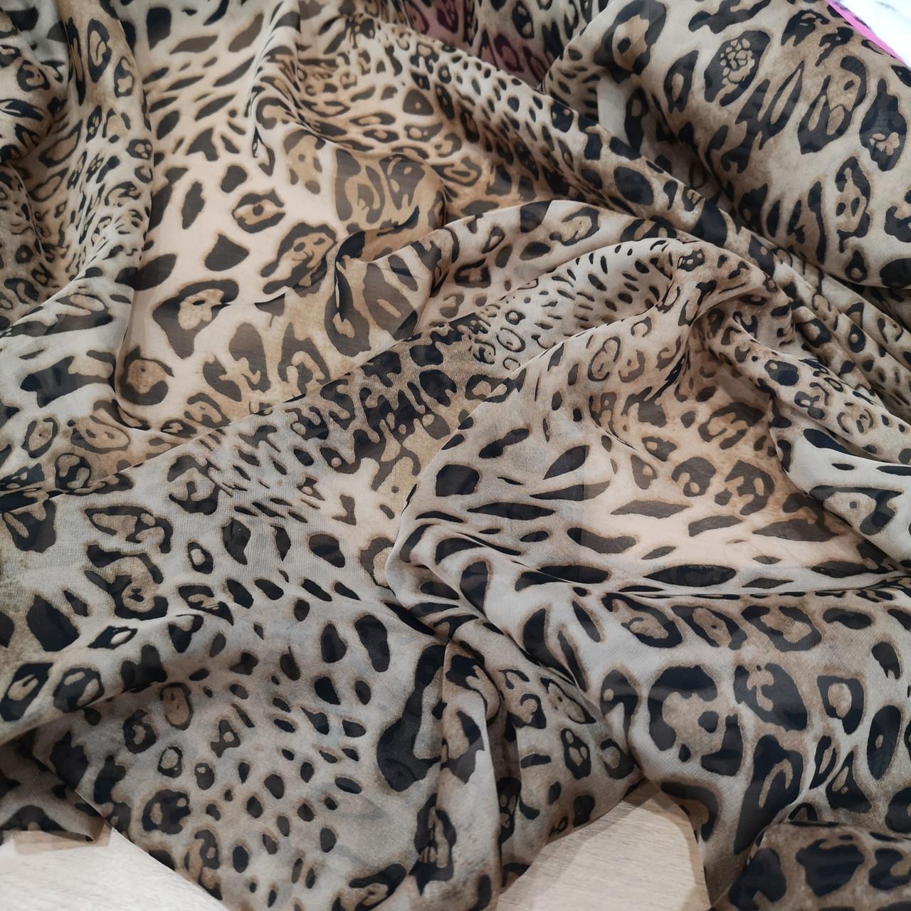 Ткань шифон принт леопард brown