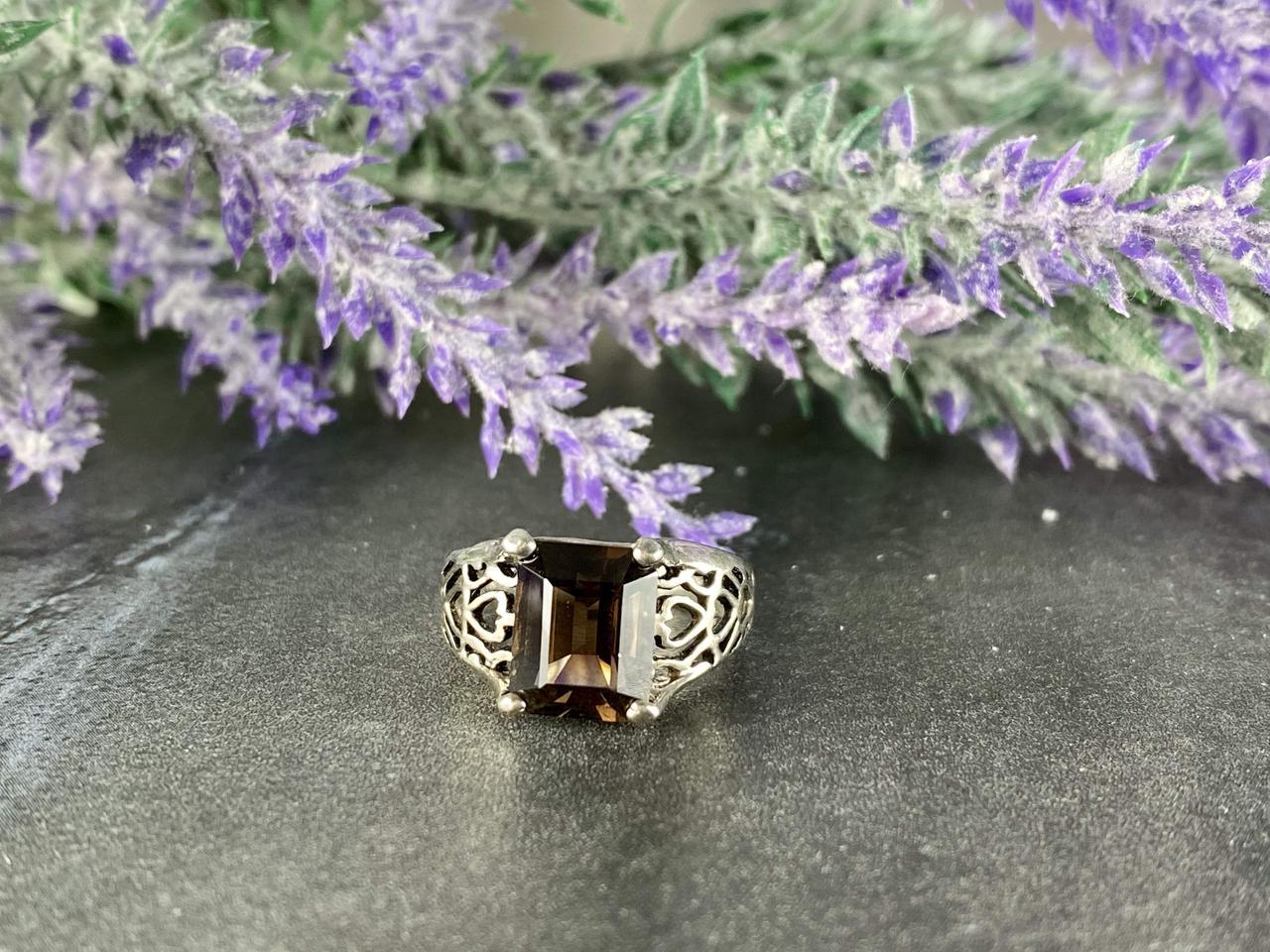 Серебряное кольцо с камнем Гессонит *Ажур*