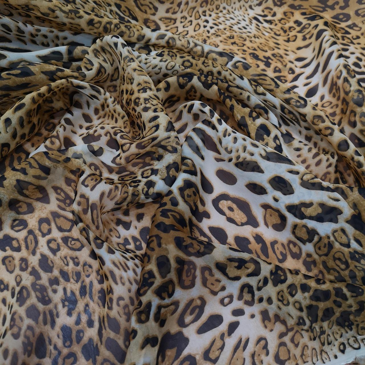 Ткань шифон принт леопард
