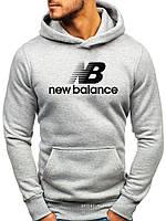 Утепленная мужская толстовка New Balance (ЗИМА) светло серая с начесом (большая эмблема) реплика