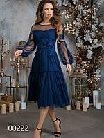 Платье миди из сетки и софт с вышивкой для встречи Нового года, 00222 (Синий), Размер 42 (S)