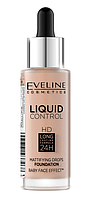 Тональная основа жидкая Eveline Cosmetics Liquid Control HD Mattifying Drops Foundation №030 Sand Beige