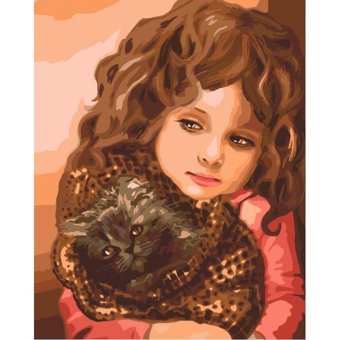 Картина по номерам Малышка с котенком КНО2307 40x50см Идейка