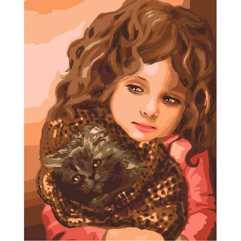 Картина по номерам Малышка с котенком КНО2307 40x50см Идейка, фото 2