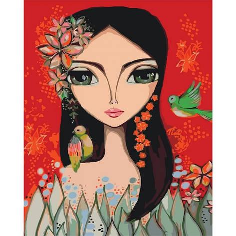 Картина за номерами Яскрава дівчинка КНО2685 40х50см Ідейка, фото 2