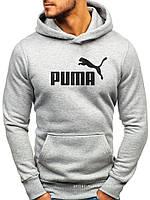 Мужская толстовка Puma (Пума) светло серая (большая эмблема) кенгуру худи