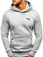 Мужская толстовка Puma (Пума) светло серая (маленькая эмблема) кенгуру худи