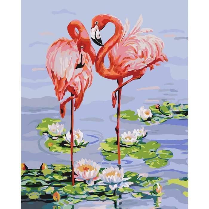 Картина по номерам Розовые фламинго КНО4130 40x50см Идейка