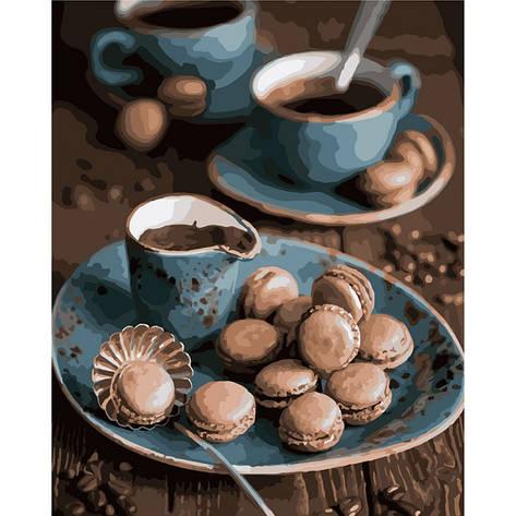 Картина по номерам Макаруны к кофе КНО5550 40x50см Идейка, фото 2