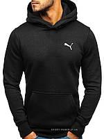 Мужская толстовка Puma (Пума) черная (маленькая эмблема) кенгуру худи