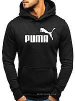 Утепленная мужская толстовка Puma (Пума) ЗИМА черная с начесом (большая эмблема) кенгуру худи
