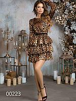 Платье из шелка с тигровым принтом, 00223 (Коричневый), Размер 46 (L)
