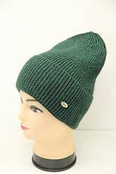 Женская вязаная шапка зеленого цвета производства Shila (Украина) (19477)