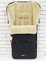 Зимний конверт на овчине в коляску Z&D New Еко-кожа (Черный)