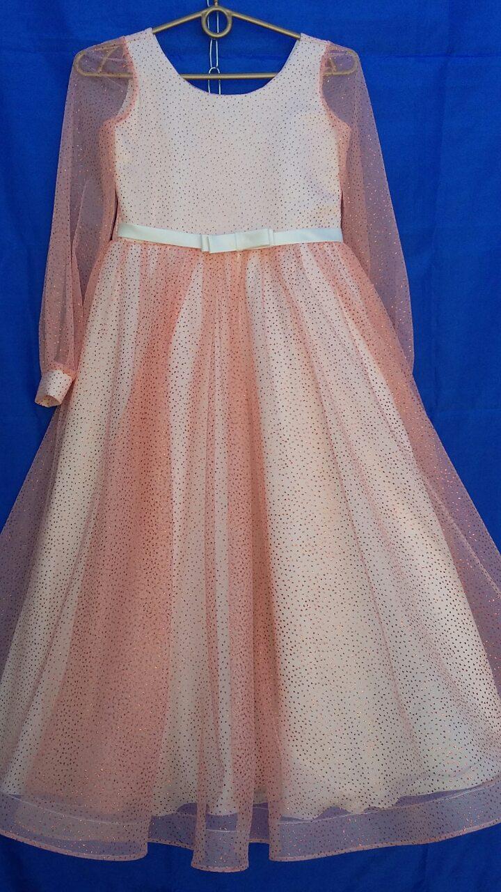 Подростковое нарядное платье для девочки с длинным рукавом р.10-12 лет опт