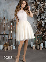 Красивое платье из гипюра и сетки для торжественных мероприятий, 00235 (Бежевый), Размер 42 (S)