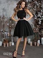 Коктейльное платье из гипюра с сеткой, 00236 (Черный), Размер 44 (M)