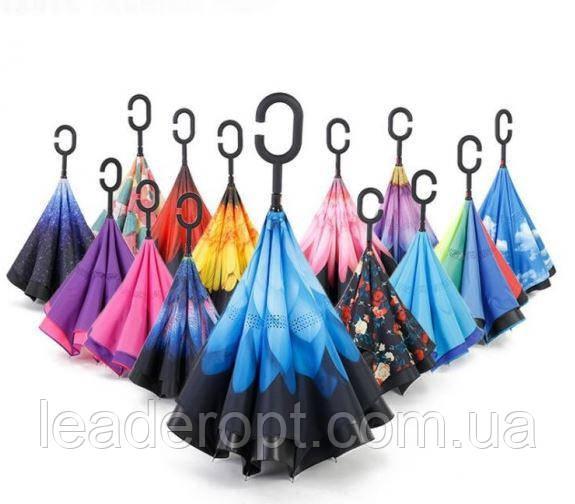 Вітрозахисний парасолька зворотного складання з подвійним куполом розумний міцний Up-Brella ОПТ