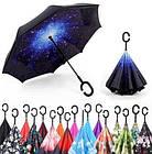 Вітрозахисний парасолька зворотного складання з подвійним куполом розумний міцний Up-Brella ОПТ, фото 8