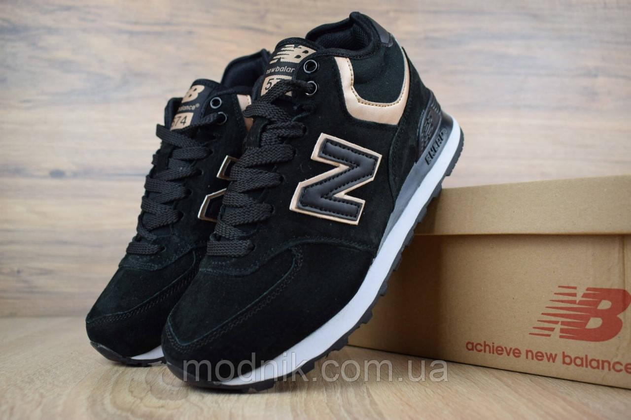 Женские зимние кроссовки New Balance 574 (черно-золотые)