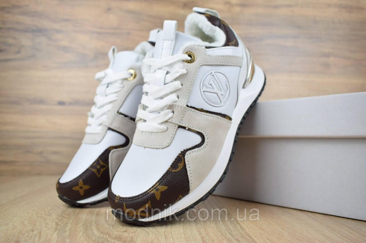 Женские зимние кроссовки Louis Vuitton (бело-коричневые)