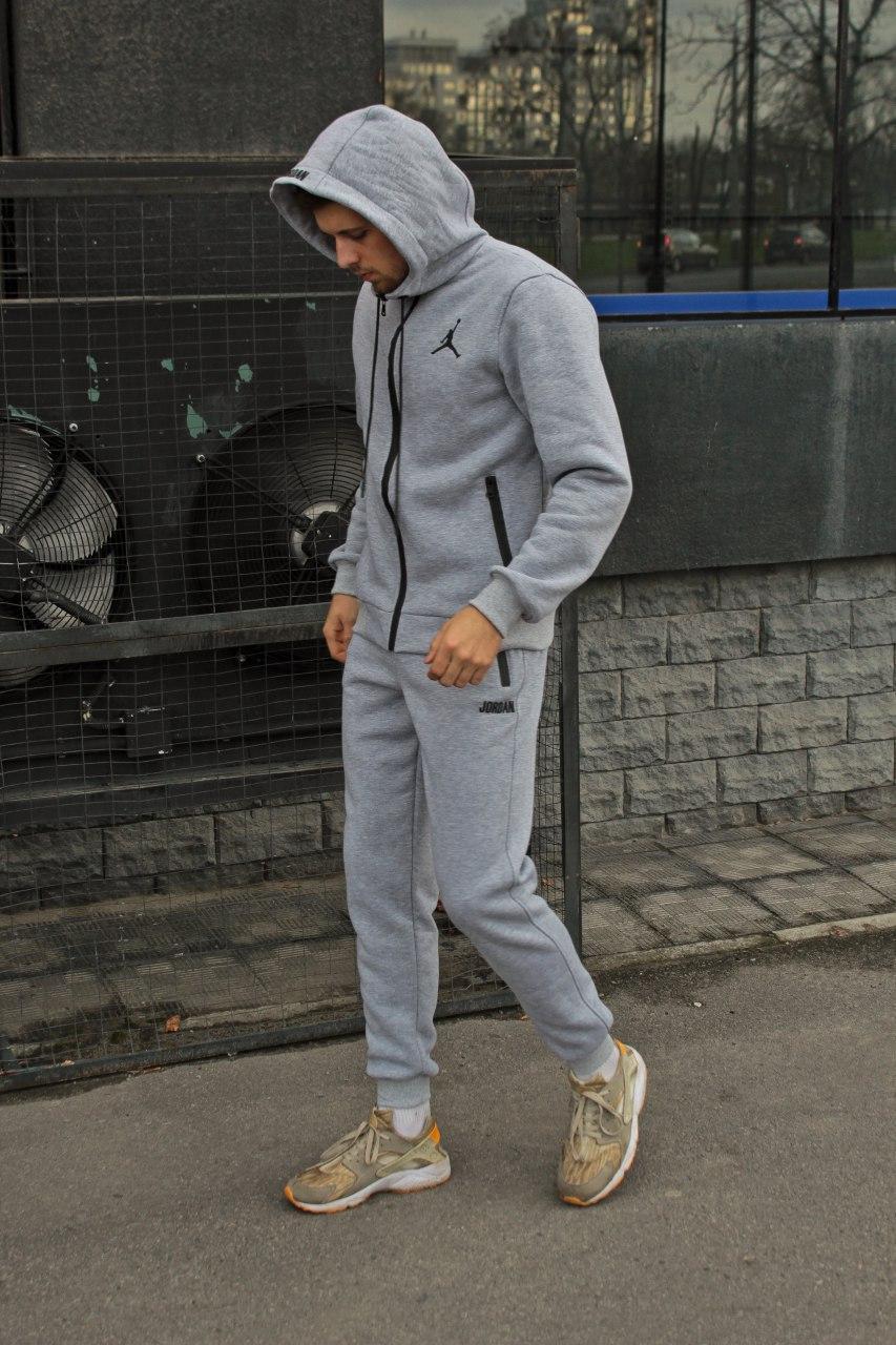 😜 Спортивный костюм -Стильный мужской спортивный костюм с начесом серый
