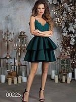Платье для корпоратива из гипюра и неопреновой пышной юбкой, 00225 (Зеленый), Размер 42 (S)