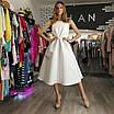 Вечернее свадебное минималистичное атласное миди платье с открытой спиной айвори белое, фото 10