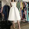 Вечернее свадебное минималистичное атласное миди платье с открытой спиной айвори белое, фото 7