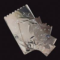 Целлофановые подарочные пакеты 10*15 фольга+рис 100шт/уп - Серебряный металлик
