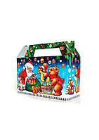 """Новогодняя подарочная коробочка для конфет и сладостей 200-300гр Саквояж """"Звірята"""" 100шт/уп"""