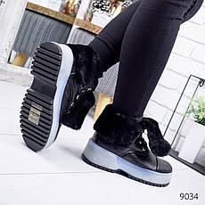 """Ботинки женские зимние, черного цвета из эко кожи """"9034"""". Черевики жіночі. Ботинки теплые, фото 2"""