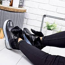 """Ботинки женские зимние, черного цвета из эко кожи """"9034"""". Черевики жіночі. Ботинки теплые, фото 3"""
