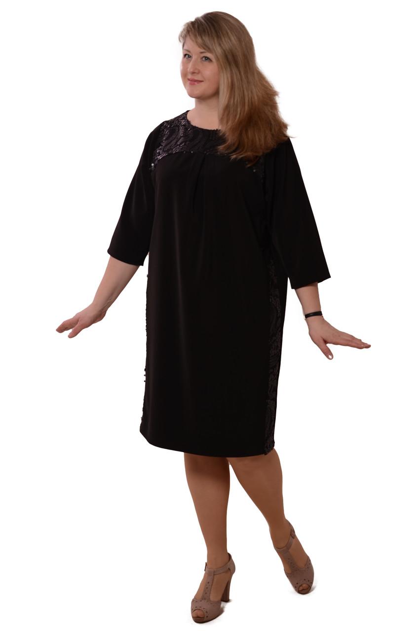 Черное платье вечернее с блеском нарядное баллон ПЛ 171.