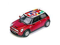Коллекционная машина Kinsmart MINI COOPER S PULL BACK WITH FLAG инерционная масштаб 1:32