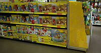 Стеллажи торговые для детских магазинов. Металлические стеллажи в магазин игрушек. WIKO Киев