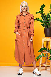 Терракотовое платье-рубашка из жатой ткани
