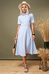 Платье-рубашка в полоску с супатной застежкой