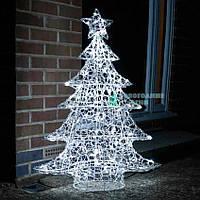 Светящаяся елка Ажурная 60 см. 50 Led ламп, серебряная проволока (Размер - 130 см)