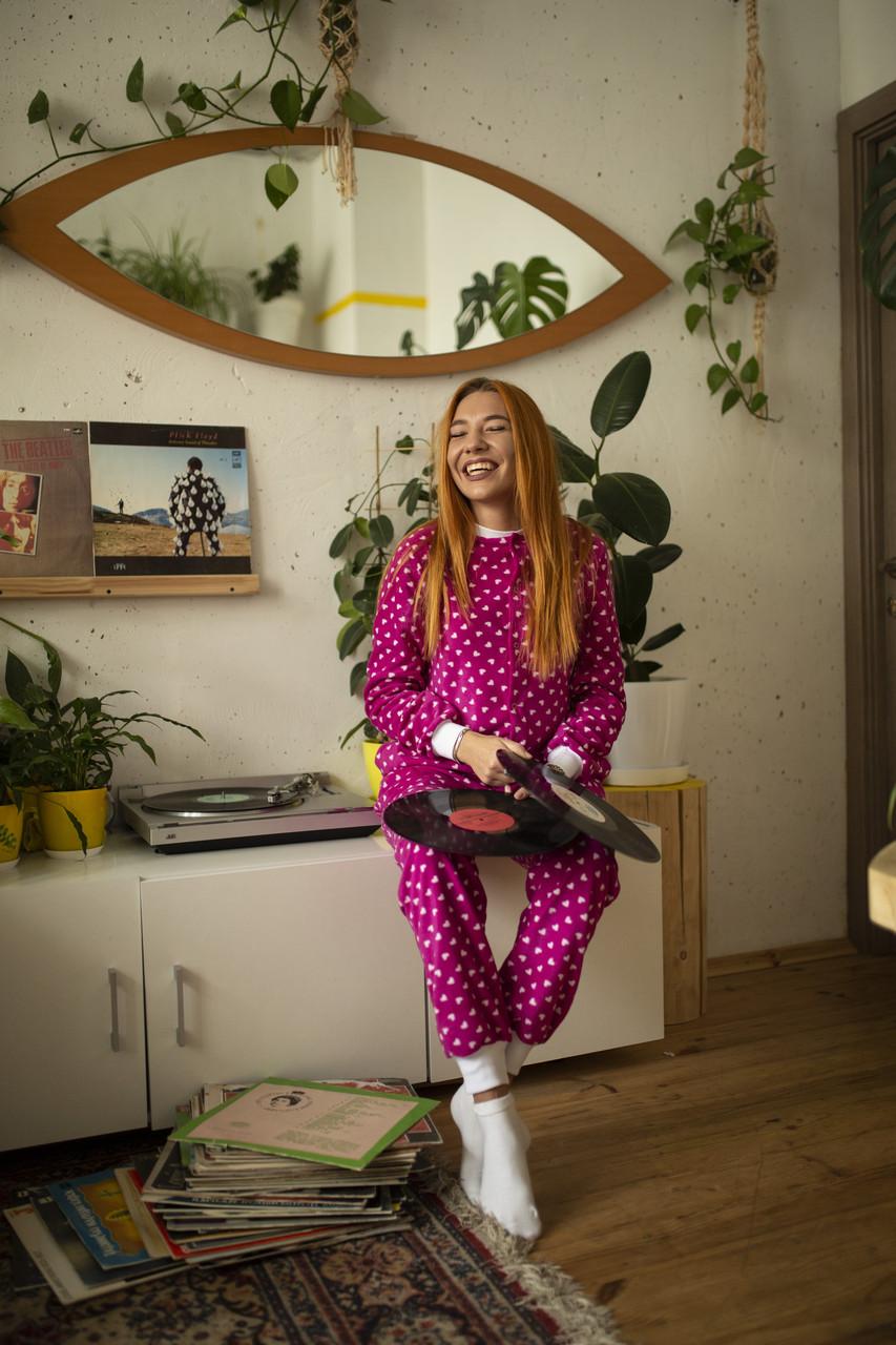 Детская флисовая пижама малиновая 116