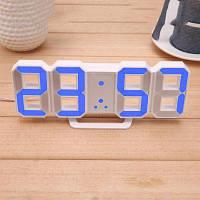 Электронные настольные Led часы с будильником и термометром Caixing CX-2218 White (синяя подсветка)