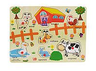 Деревянная игрушка Рамка-вкладыш MD 2161-4 (Домашние животные) с ручкой.