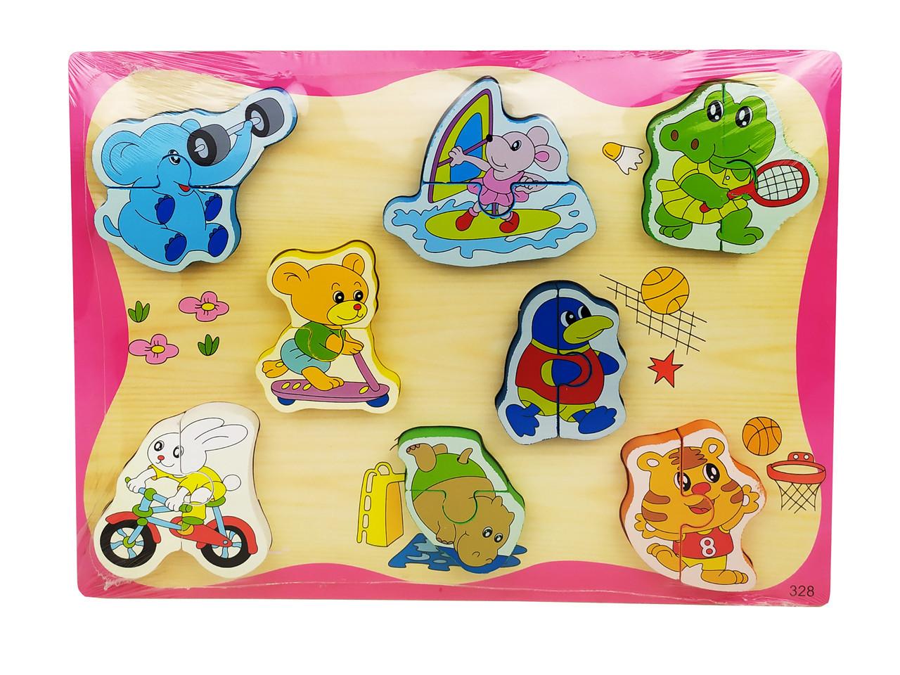 Деревянная игрушка Рамка-вкладыш MD 1213-5 (Животные спорт) пазлы, животные.