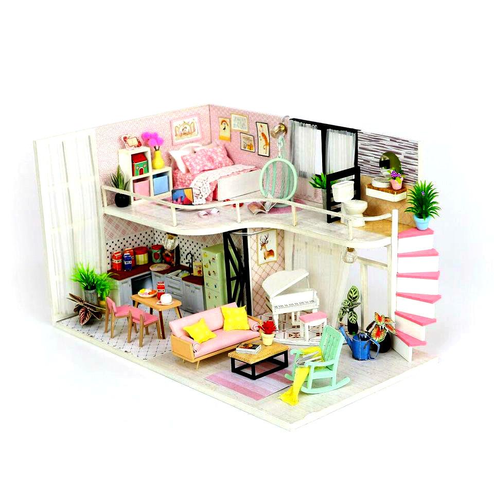 Подарок девочке DIY miniature House интерьерный 3D-конструктор РУМБОКС + LED подсветка 28*19*16см