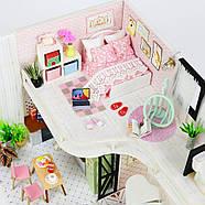 Подарок девочке DIY miniature House интерьерный 3D-конструктор РУМБОКС + LED подсветка 28*19*16см, фото 5