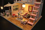 Подарок девочке DIY miniature House интерьерный 3D-конструктор РУМБОКС Pink Loft + LED подсветка, фото 10