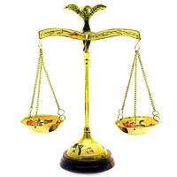 Весы бронзовые на деревянной подставке 22 см 18345